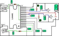 Dibujo de amplificador con LA4445 12 voltios Electronics Basics, Electronics Projects, Diy Amplifier, Electronic Engineering, Bluetooth Speakers, Physics, Tips, Circuit Diagram, Electrical Work