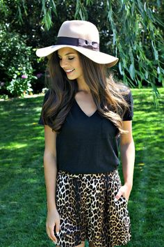 Transitioning into fall. fall ootd. leopard shorts. floppy hat.