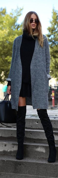 The over the knee boot trend continues this Fall. Pair it with a semi-long grey cardigan and a little black skirt and a matching knit jumper and you are good to go. Via Josefin Ekström