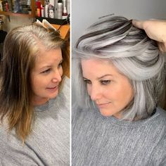 Stylist shows gorgeousness of grey hair instead of covering it up Grey Hair Transformation, Gray Hair Highlights, Grey Hair Lowlights, Gray Hair Growing Out, Natural Hair Styles, Short Hair Styles, Transition To Gray Hair, Hair Colorist, Silver Hair