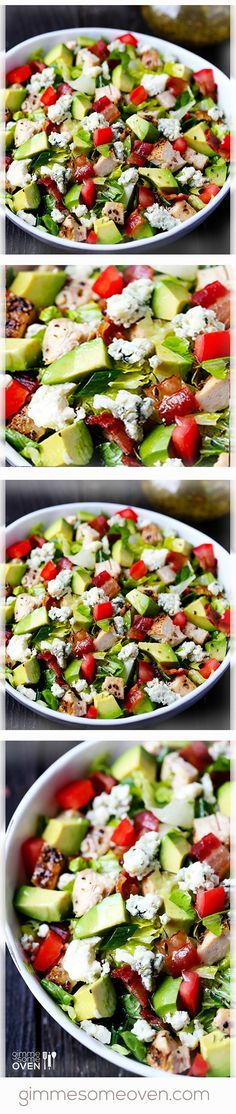 Chicken, Bacon & Avocado Chopped Salad | gimmesomeoven.com Bacon Avacado, Avocado Chicken Salad, Bacon Salad, Cheese Salad, Avocado Salad, Healthy Chicken Recipes, Healthy Salads, Cooking Recipes, Salad Bar