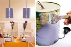 Creative Pendant Light Design in Impressive Appearance: Tin Can Pendant Lights Made From Unused Can Design Ideas With Best And Simple Painti. Plug In Pendant Light, Pendant Lighting, Luminaire Design, Lamp Design, Light Design, Cool Diy, Abbat Jour, Diy Abat Jour, Diy Luz