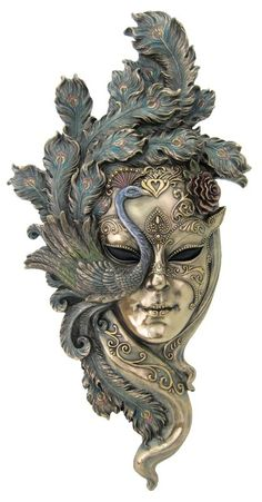 """.Large Venetian Lady Peacock Mask Wall Plaque Bronze 21"""""""