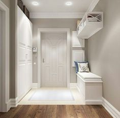 modern corridor design with concrete floor and indirect . modern corridor design with concrete flo Home Design, Flur Design, Interior Design, Design Ideas, Style At Home, White Hallway, Modern Hall, Hallway Decorating, Design Case