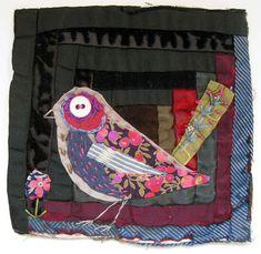 Log cabin bird by Mandy Pattullo, a textile artist