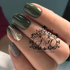 naildesign – Page 177 – NagelDesign Elegant ♥ Nail Desing nail design khaki Dark Green Nails, Green Nail Polish, Dark Nails, Gold Nails, My Nails, Peach Nails, Gel Polish, Gold Glitter, Green Nail Designs