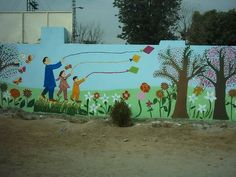 outdoor decorations for children | Outdoor Kids Play Room with Cute Wall Murals for Preschool and ...