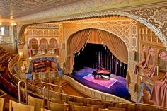 Mabel Tainter Center :: Menomonie, Wisconsin :: Andrew and Bertha Tainter built the theater in 1889 as a memorial to their arts-loving daughter, who died at age 19. Richardsonian Romanesque architecture, combined with Victorian and Moorish details, make it a fairly unique architectural treasure.