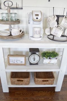 DIY Coffee Bar Table   how to build your own farmhouse style distressed coffee bar table.
