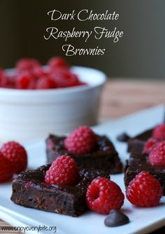 Naturally sweetened dark chocolate raspberry fudge brownies