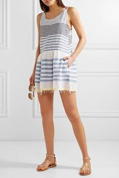 LemLem - Fringed Striped Cotton-blend Gauze Mini Dress - Sky blue -