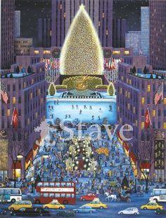 Christmas Tree At Rockefeller Center, New York, 1999 by Kathy Jakobsen New York Christmas, Christmas Art, Christmas Holidays, Xmas, Christmas Stuff, Vintage Christmas, Whimsical Christmas, Little Christmas, Central Park