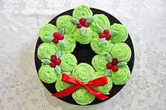 Red Velvet Peppermint Cupcake Christmas Wreath.