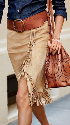 Swinging fringed trim spotlights the asymmetrical hem of this sumptuous suede wrap skirt. Fringed front panel and hem. Dry clean by a leather specialist. Look Fashion, Autumn Fashion, Womens Fashion, Fashion Tips, Fashion Trends, Fashion Websites, Fashion Spring, Curvy Fashion, Fashion Details