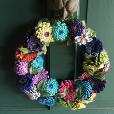 New Addition to my shop Spring Pinecone Zinnia Wreath! A great gift for Mom!
