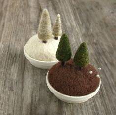 needle felted landscape pincusions by Janine Gardner
