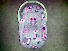 Girls  Appliqued Owl Infant Baby Carrier Cover  Two Layers Of Fleece, Girls, Appliqued Owl, Minky  Gray Pink by lindasnd on Etsy
