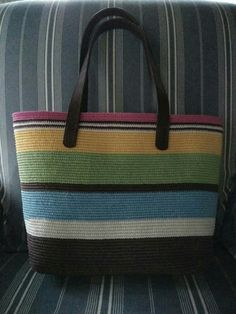 crochet tote bag made from waxed cotton cord 1 mm