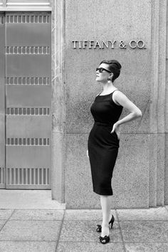 The styling of the shot, the dress, the shoes, hair and sunglasses - adore. The slight upturned chin giving just a hint of attitude in front of Tiffany & Co, Fifth Ave, NYC, NY.  Gotta love!!!