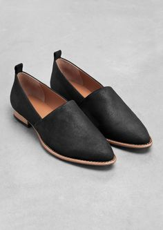 & Other Stories | Suede Flats | Black
