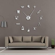 Dental Pattern Decorative Large Wall Clock for Ultimate Dentist Office Decor - Tooth Decay Dental Art, Dental Office Design, Design Offices, Modern Offices, Office Designs, Giant Wall Clock, Clock Wall, Dental Office Decor, Office Fun