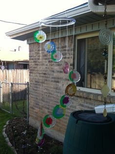 Melted pony beads sun catcher wind chime
