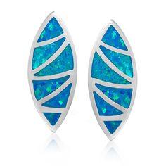 HWSTAR Women's Sterling Silver Created Opal Deilcate Marquise Shape Stud Earrings Blue