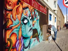 Brighton street art to announce Brighton Tattoo Convention 2014.