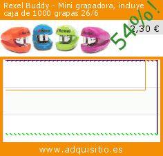 Rexel Buddy - Mini grapadora, incluye caja de 1000 grapas 26/6 (Productos de oficina). Baja 54%! Precio actual 2,30 €, el precio anterior fue de 4,97 €. https://www.adquisitio.es/rexel/buddy-mini-grapadora