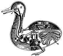 Le Canard digérateur (l'anatra digeritrice) di Jacques de Vaucanson, salutato nel 1739 come il primo automa capace di digestione.