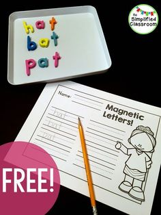 Snag this free Magnetic Letters Literacy Center to use all year long! Perfect for grade! Kindergarten Language Arts, Kindergarten Centers, Teaching Kindergarten, Teaching Reading, Literacy Centers, Teaching Ideas, Early Literacy, Guided Reading, Preschool