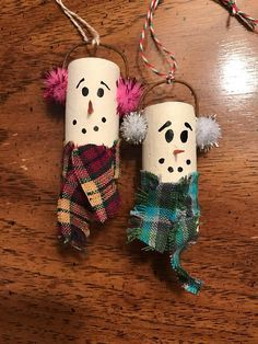 Snowman wine cork ornament set