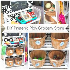 DIY Kids Pretend Play Grocery Store from a Bookcase. When not in use it acts as . DIY Kids Pretend Play Grocery Store from a Bookcase. When not in use it acts as storage for outdoor toys in the garage. Kids Grocery Store, Diy Kids Kitchen, Kitchen Ideas, Kitchen Tips, Kitchen Images, Toy Kitchen, Wooden Kitchen, Play Market, Outdoor Toys