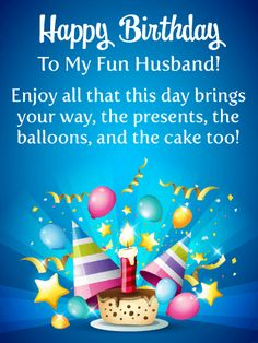 Enjoy The Cake Happy Birthday Card For Husband