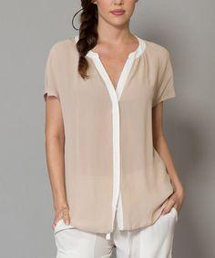 Khaki & White Button-Up Top
