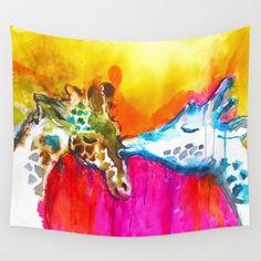 Giraffe Tapestry, Giraffe Decor, Giraffe Wall Decor, Giraffe Wall Hanging, Giraffe Kiss, Giraffe Painting, Giraffe Art, Giraffe Decor