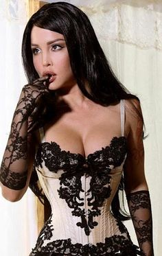 Black lace Corset on champagne and gloves <3