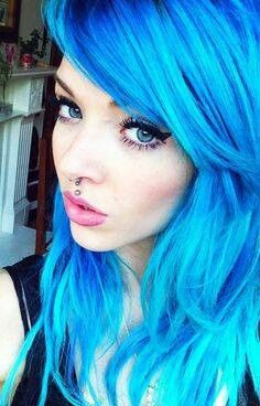 Blue hair #neon #bright #hair #dyed