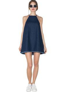 Pattern Type:SolidDresses Length:Above Knee, MiniSilhouette:A-LineNeckline:HalterSeason:SummerStyle:CasualSleeve Length(cm):SleevelessDecoration:NoneWaistline:N
