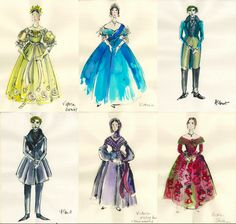 Costume design sketches bySandy Powell for The Young Victoria