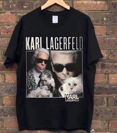 Karl Lagerfeld T-shirt from the Homage Tees collection. As seen on Gigi Hadid at the Chanel show. Now available online [subject to limited availability]. Karl Lagerfeld Men, The Blonde Salad, Who What Wear, T Shirts For Women, Retro, My Style, Tees, Casual, Mens Tops