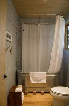 Marvelous Water Trough Tub    Great Thing Is The Doubled Up All Around Shower Curtain  Allows The Wood Walls All Around.