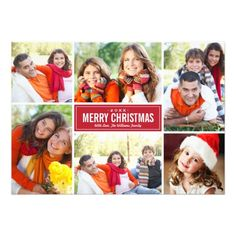 Simple and modern style Christmas card features six (6) photos, a custom holiday greeting, and sleek stripes on the back side.  Colors: holiday red and white