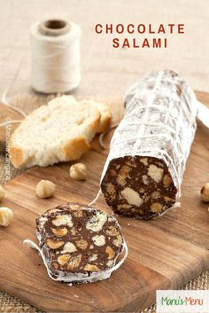 Chocolate Salami - a classic #Italian #dessert with the wow factor made with #chocolate, cookies and nuts. Perfect for kids and adults alike!