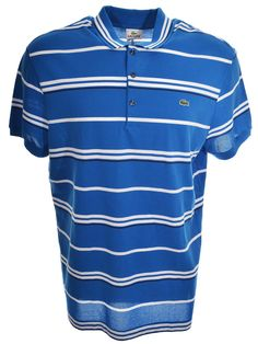 Lacoste Mens Cotton Pique Slim Fit Stripe Polo Laser/White/Navy Blue 3XL NWT $98 #Lacoste #PoloRugby