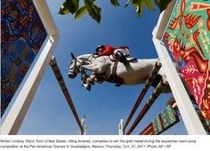 Mclain Ward on Antares F, one of the USA pairs winning Team gold with clear rounds at the Pan American Games this year.