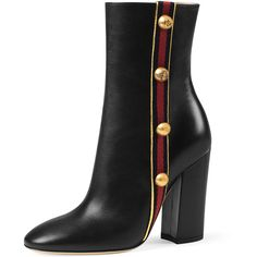 Gucci Carly Mid-Calf Globe Bootie (€1.120) ❤ liked on Polyvore featuring shoes, boots, ankle booties, gucci, schuhe, black, leather boots, black leather ankle booties, black bootie and black ankle boots