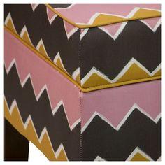 Mila Storage Bench - Brush Chevron Pink Yellow - Skyline Furniture Mfg.