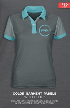 Pro    Womens polo shirt templates for Photoshop. Color any panel with 1  mouse a6b8393dd