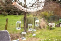 Tolle Garten Idee - Selbstgemachter Ast-Kronleuchter mit Kerzen im Weckglas *** Great DIY Garden Light Decoration with Mason Jar Candles